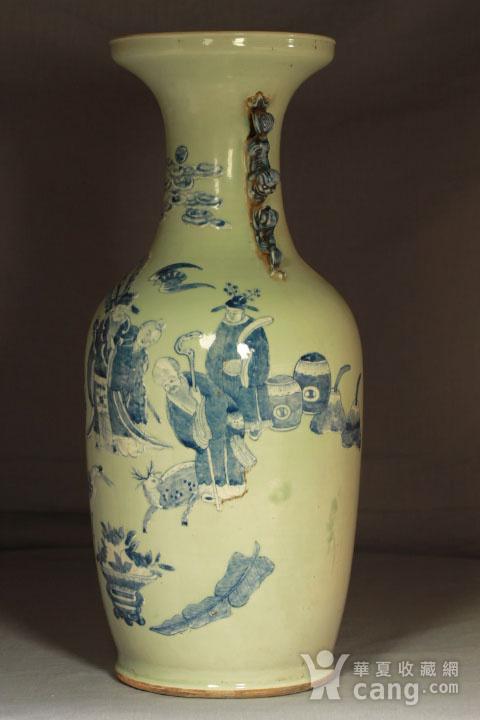 清代细路豆青堆白300件福禄寿喜财纹瓶图7