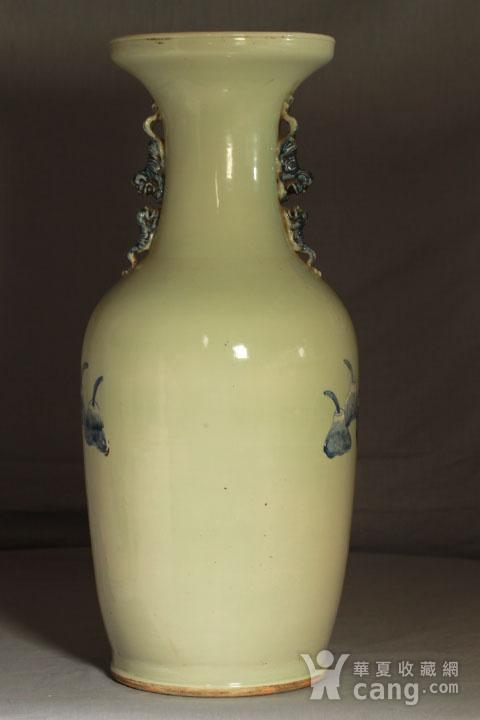 清代细路豆青堆白300件福禄寿喜财纹瓶图8