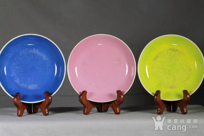 清雍正柠檬黄,胭脂红,宝石蓝釉盘三件套图2