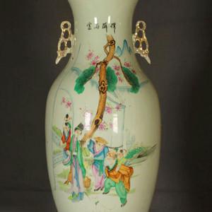 民国早期制瓷名家周图真粉彩孟母三迁纹150件大瓶