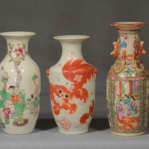 清代瓷瓶三个 全品