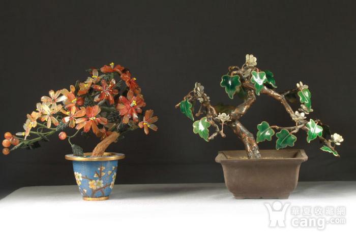 铜胎掐丝百宝盆景烧蓝盆景两件图1