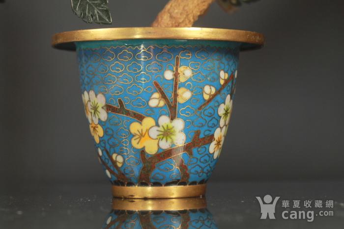 铜胎掐丝百宝盆景烧蓝盆景两件图7