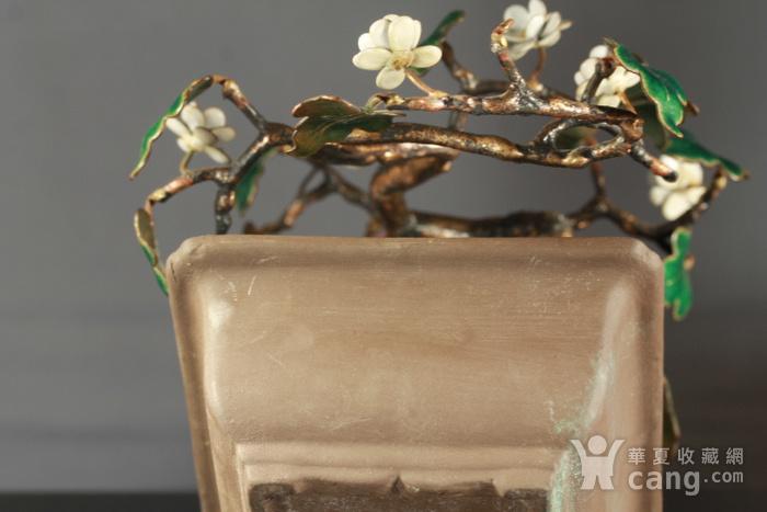 铜胎掐丝百宝盆景烧蓝盆景两件图12