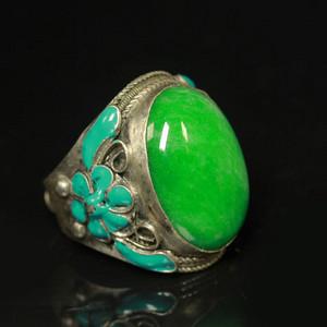极品 民国正绿翡翠戒指 包老包A货