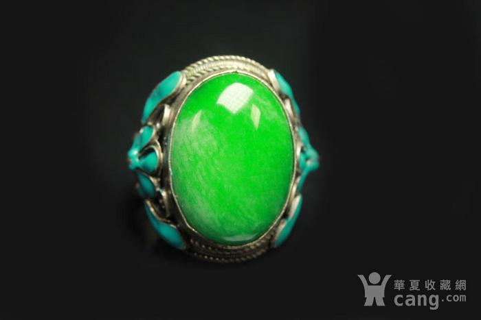 极品 民国正绿翡翠戒指 包老包A货图6