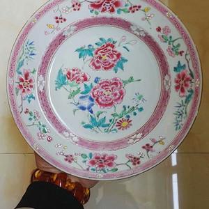 清雍正粉彩牡丹花卉盘
