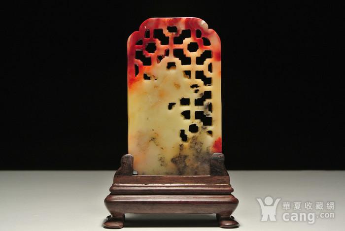 寿山老性芙蓉石 花开富贵 插屏 有修补,见图图3