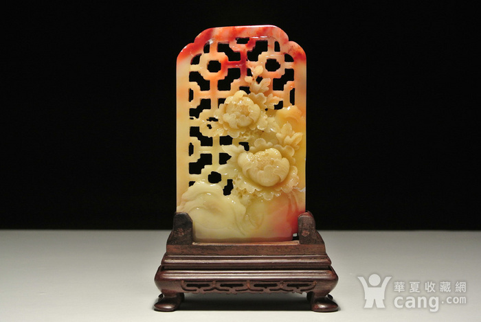 寿山老性芙蓉石 花开富贵 插屏 有修补,见图图1