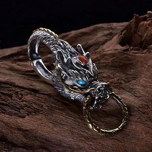 新创手工雕刻龙游祥云镶嵌宝石龙头纯银钥匙扣