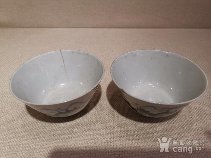 粉彩山水茶碗一对,带江西景德镇瓷业公司款图3