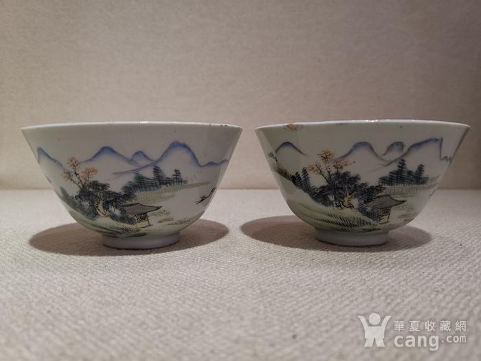 粉彩山水茶碗一对,带江西景德镇瓷业公司款图1