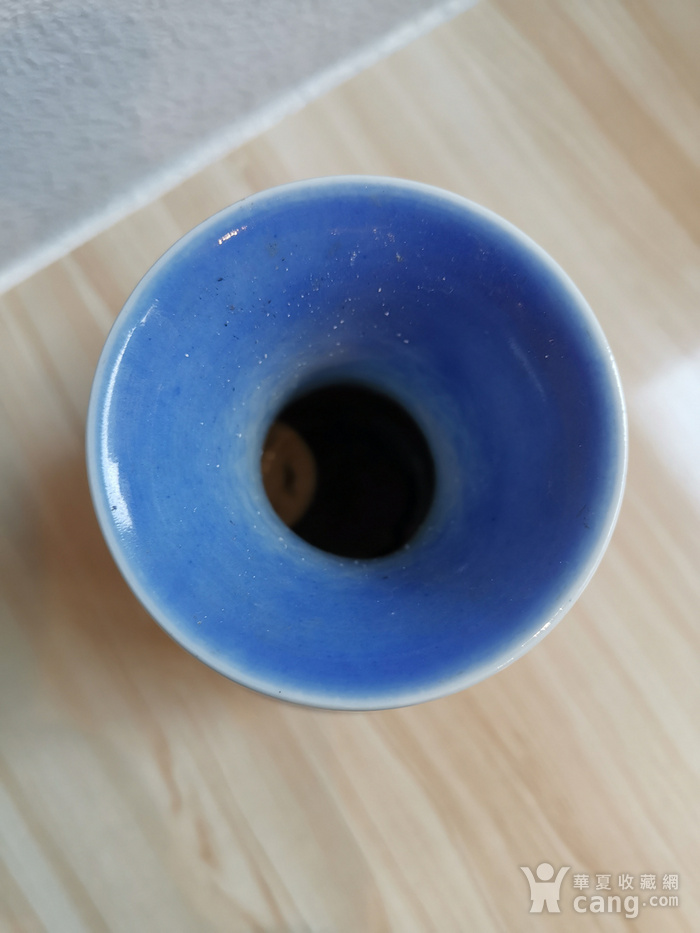 蓝釉盘枝龙菊瓣瓶一对 大清乾隆款图4