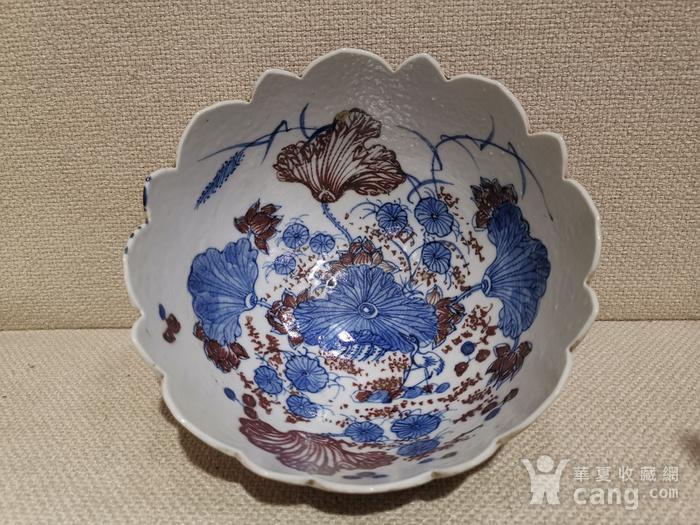 釉里红荷花碗图2