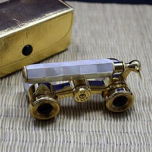 手工镶嵌螺钿 蚌壳带手柄黄铜歌剧望远镜