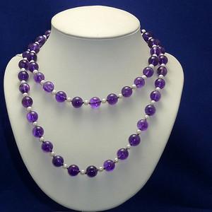 欧洲原工天然紫水晶 珍珠项链 二月石