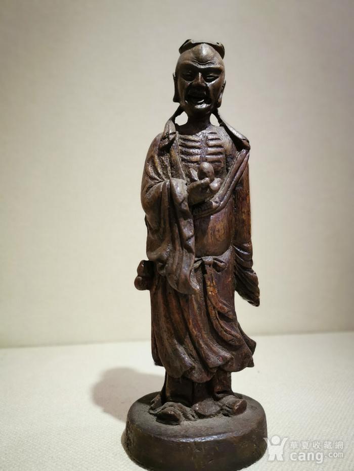 竹雕瘦骨罗汉站像图1