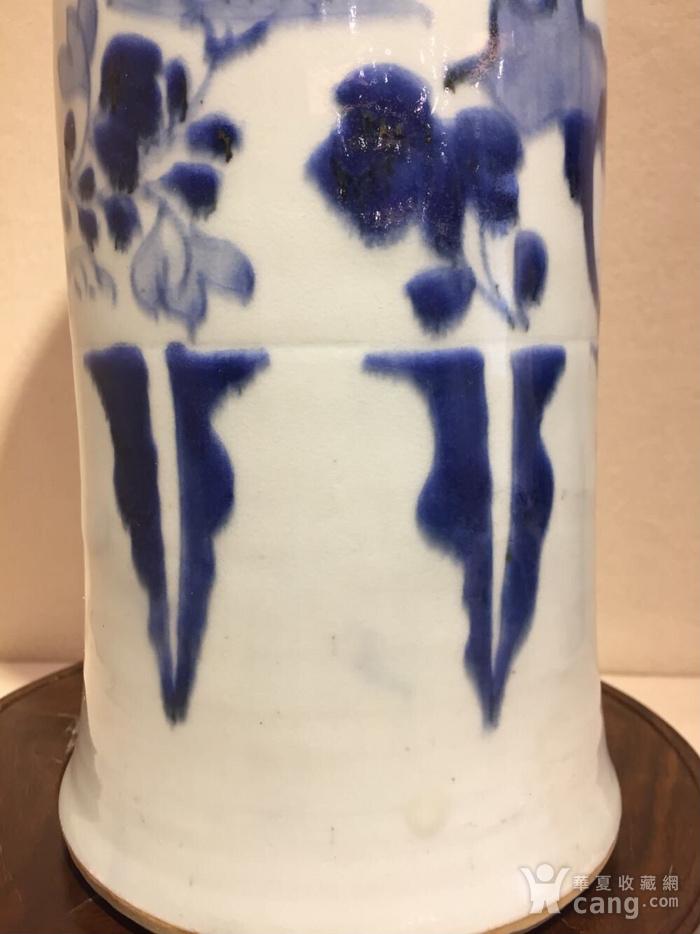 顺治.青花花鸟桶瓶图4