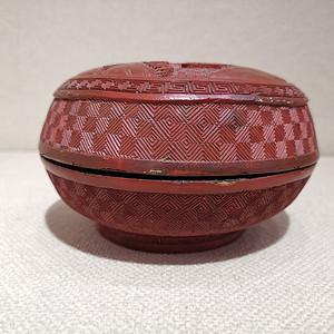 清中期人物剔红盒