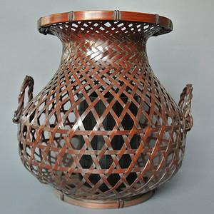 老竹编鱼篓形花器