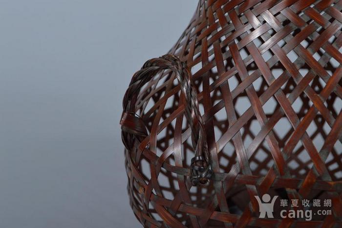 老竹编鱼篓形花器图4