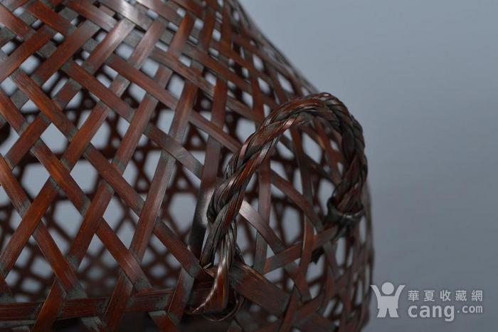 老竹编鱼篓形花器图5