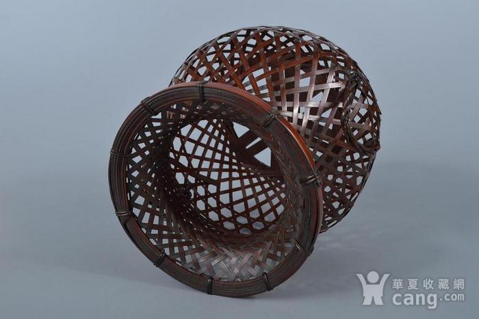老竹编鱼篓形花器图7