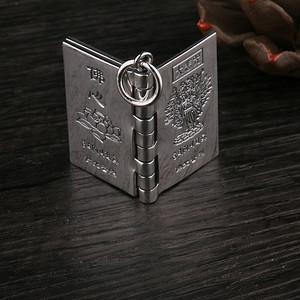 纯银S990民族风男女通用佛光普照心经书本吊坠