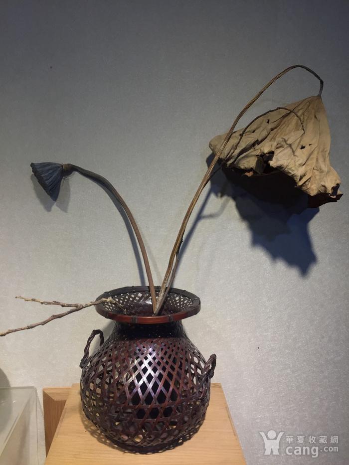 老竹编鱼篓形花器图10