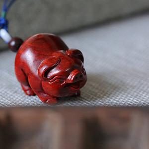 印度小叶紫檀 猪 精工手把件 钥匙扣