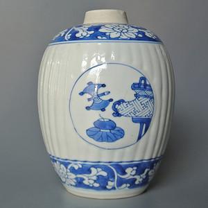 清康熙青花开光博古图罐