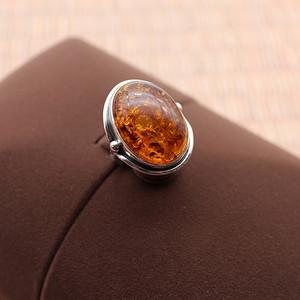 精 银镶波罗的海花珀戒指 块大  183 形好  183 极老