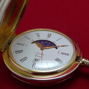 瑞士原产Juta石英怀表 带月相