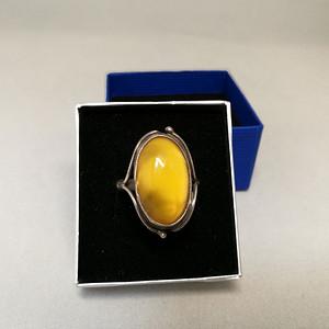 德国银镶天然老蜜蜡戒指
