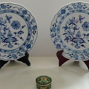 德国麦森1924 34青花瓷盘一对 欧洲名瓷翘楚