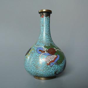清晚民国铜胎掐丝珐琅彩龙纹胆瓶