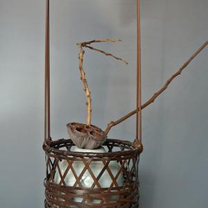 日本昭和期高提梁竹花篮