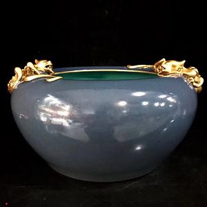 精品本金单色釉霁蓝釉盘龙笔洗