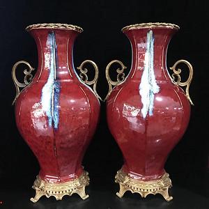 精品回流本金窑变瓷镶铜双耳八方大瓶一对 火漆款