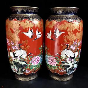 精品本金珐琅彩松鹤纹灯笼瓶一对