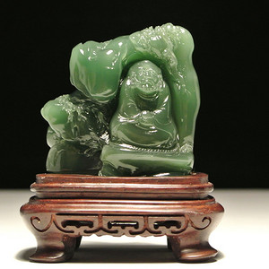 天然藏石圆雕 西安绿冻石达摩面壁摆件