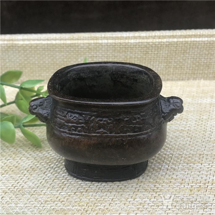 日本回流 铜器 饕餮纹 小鼎图1