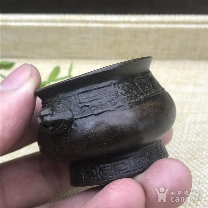 日本回流 铜器 饕餮纹 小鼎图6