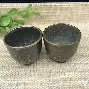 日本回流 铜器  佛教小杯 一对