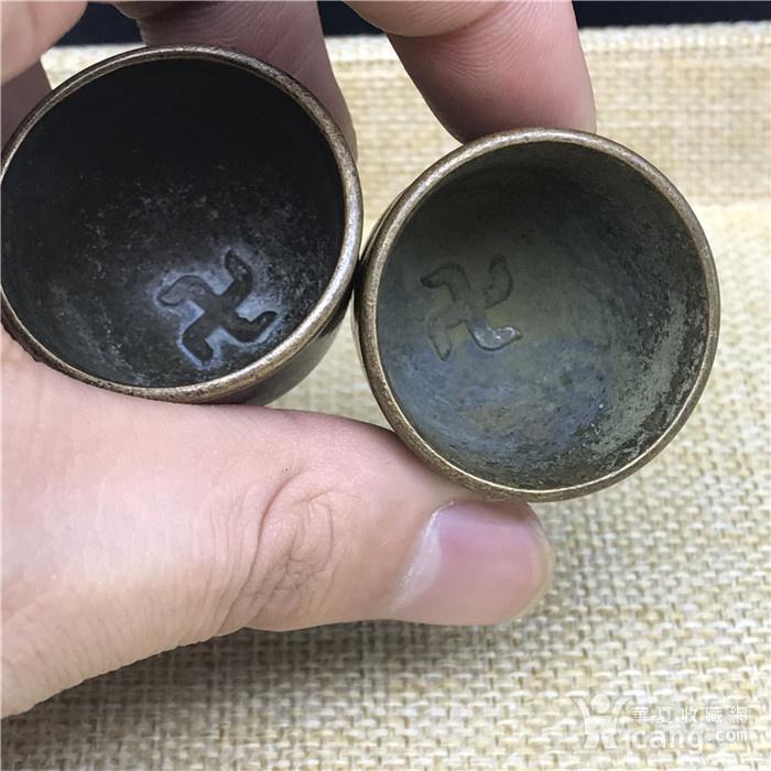 日本回流 铜器  佛教小杯 一对图2