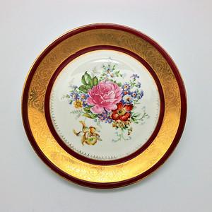 金牌 欧洲 花卉纹赏盘c87v1