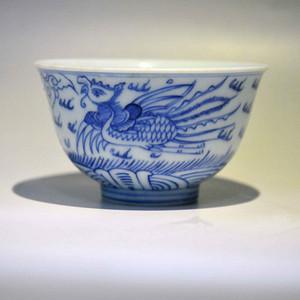 清中期青花龙凤纹茶碗