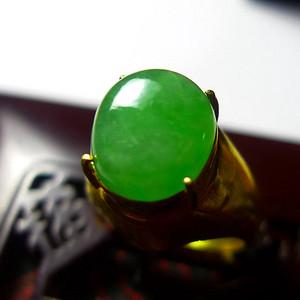 A货翡翠冰糯种铜托戒指7.99g