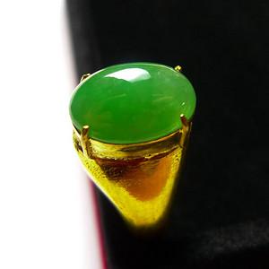 A货翡翠冰糯种铜托戒指7.74g