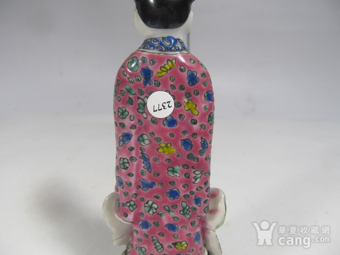 民国粉彩人物纹瓷塑图5